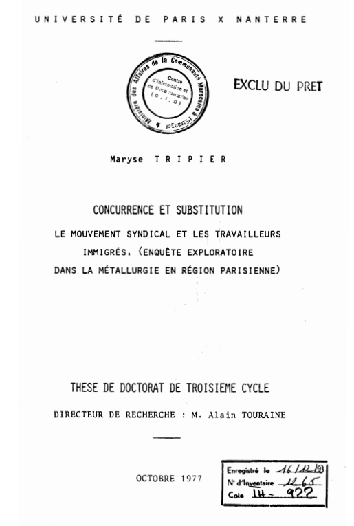 CONCURRENCE ET SUBSTITUTION