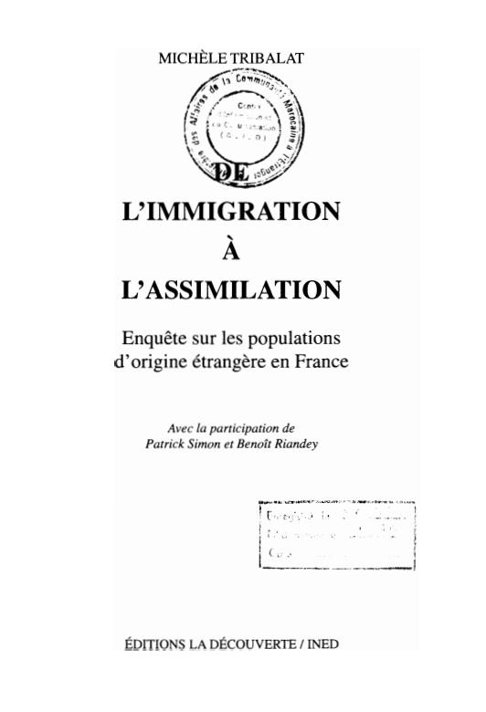DE LIMMIGRATION A LASSIMILATION