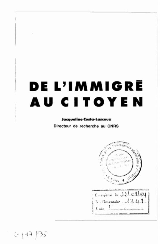 DE LIMMIGRE AU CITOYEN..