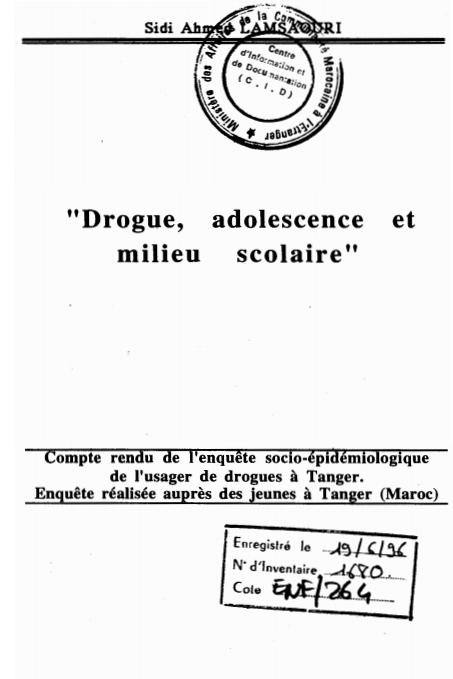 DROGUE ADOLESCENCE MILIEU SCOLAIRE