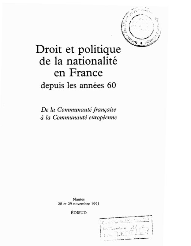 DROIT ET POLITIQUE DE LA NATIONALITE