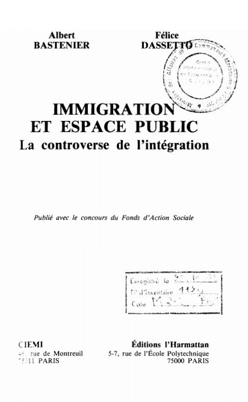 IMMIGRATION ET ESPACE PUBLIC