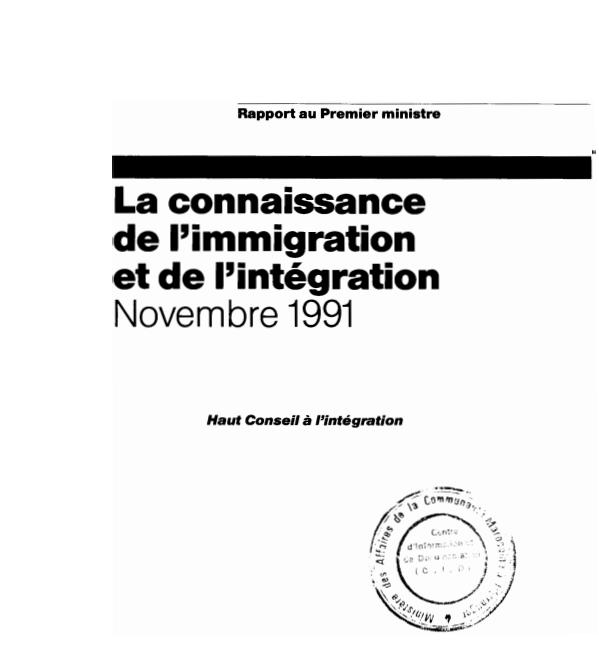 LA CONNAISSANCE DE LIMMIGRATION ET DE LINTEGRATION