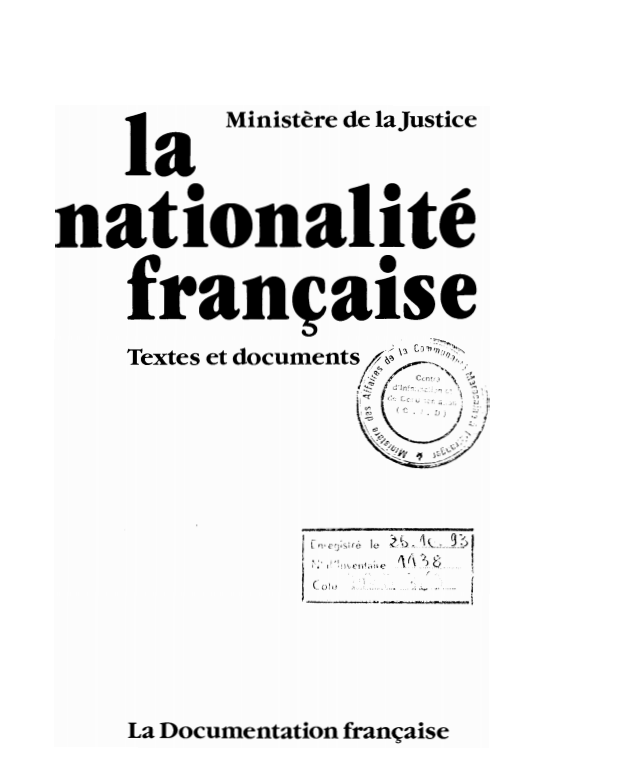 LA NATIONALITE FRANCAISE