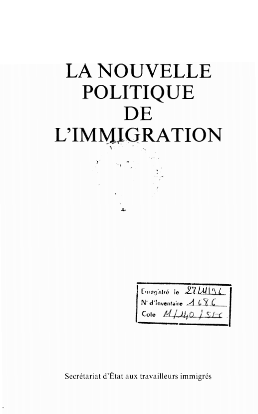 LA NOUVELLE POLITIQUE DE LIMMIGRATION