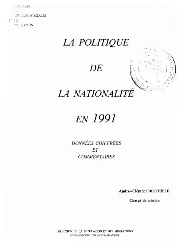 LA POLITIQUE DE LA NATIONALITE