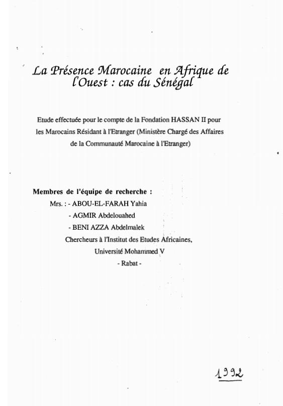 LA PRESENCE MAROCAINE