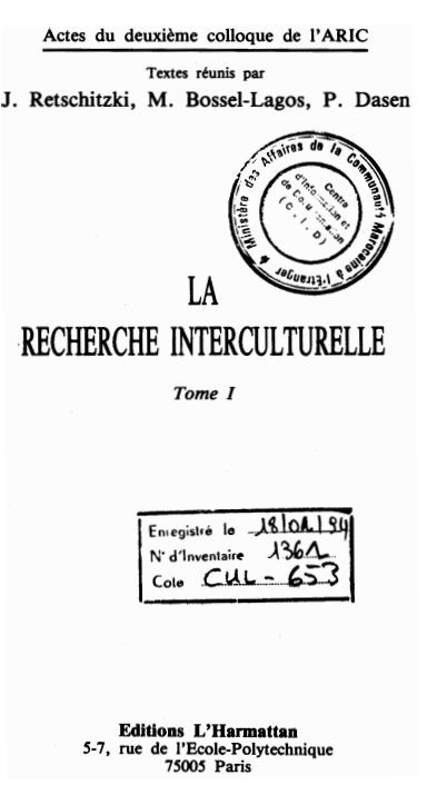 LA RECHERCHE INTERCULTURELLE