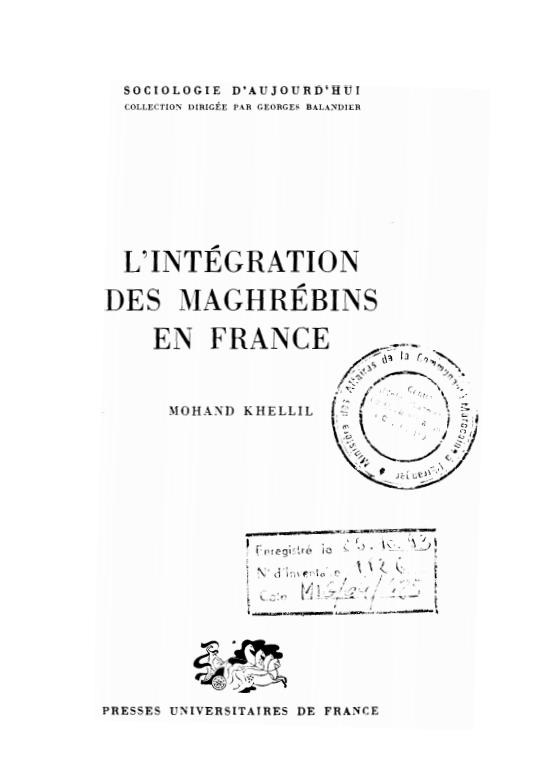 LINTEGRATION DES MAGHREBINS EN FRANCE