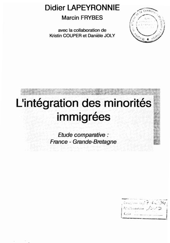 LINTEGRATION DES MINORITES