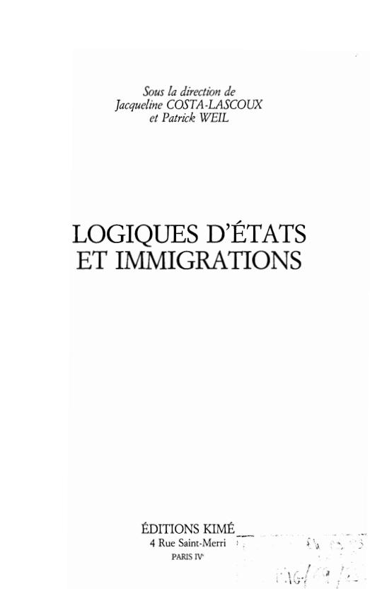 LOGIQUES DETATS ET IMMIGRATIONS