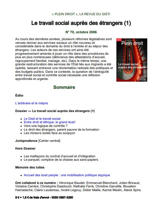 Le travail social aupres des etrangers