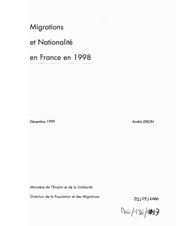 MIGRATIONS ET NATIONALITE EN FRANCE 1998