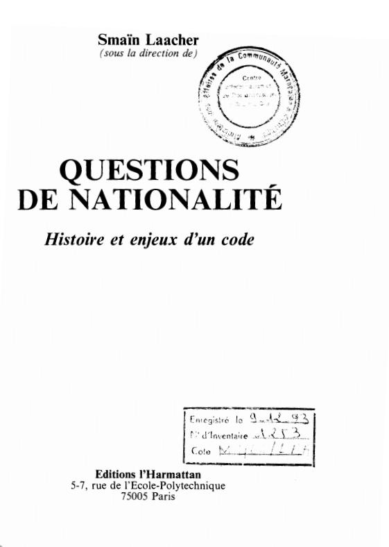QUESTIONS DE NATIONALITE