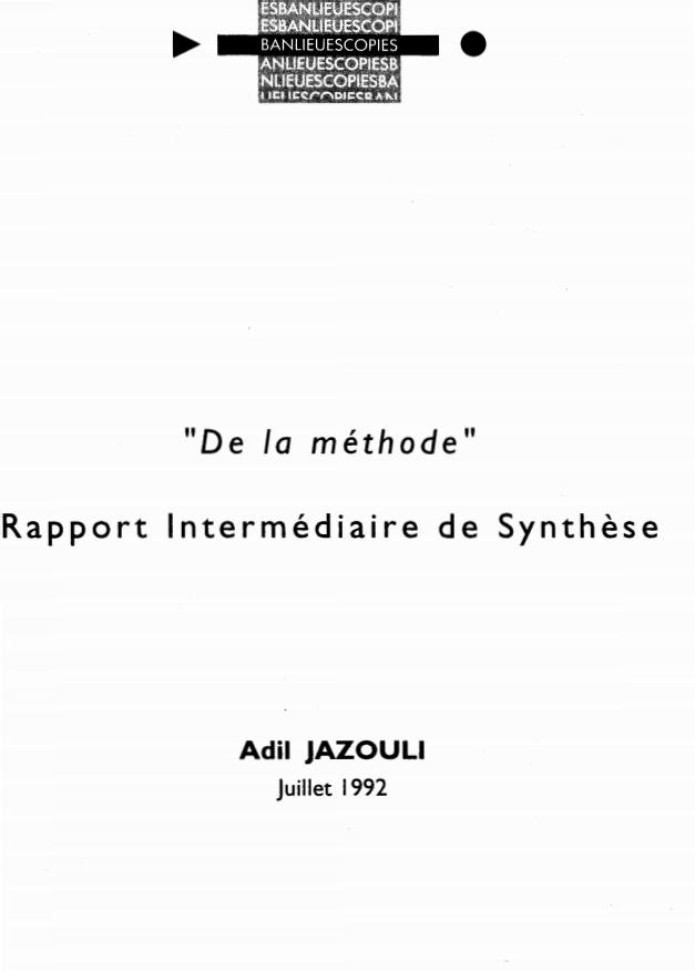 DE LA METHODE » RAPPORT INTERMEDIAIRE DE SYNTHESE