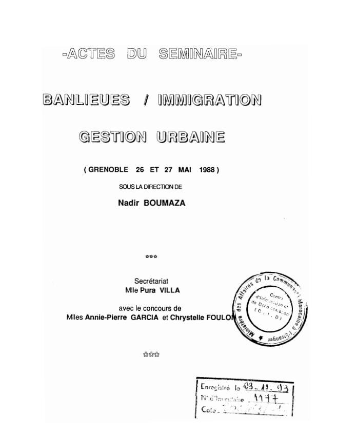 BANLIEUES IMMIGRATION GESTION URBAINE