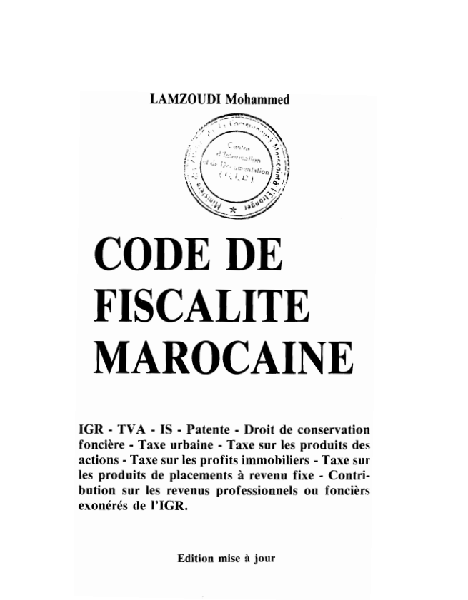 CODE DE FISCALITE MAROCAINE