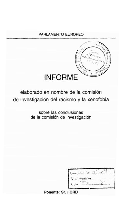 COMISION DE INVESTIGACION DESL RACISMO Y LA XENOFOBIA