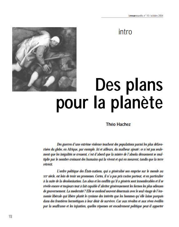 Des plans pour la planete