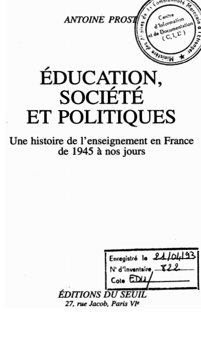 EDUCATION SOCIETE ET POLITIQUES