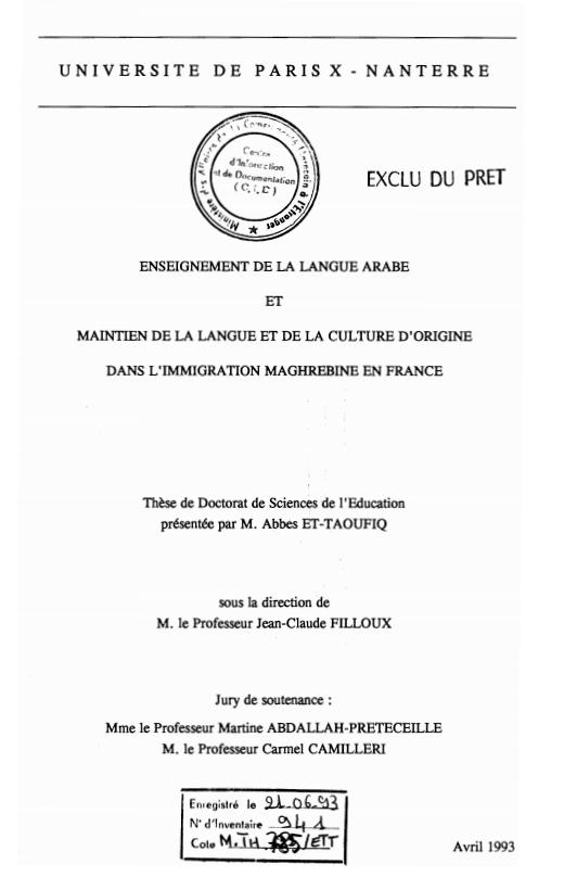ENSEIGNEMENT DE LA LANGUE ARABE