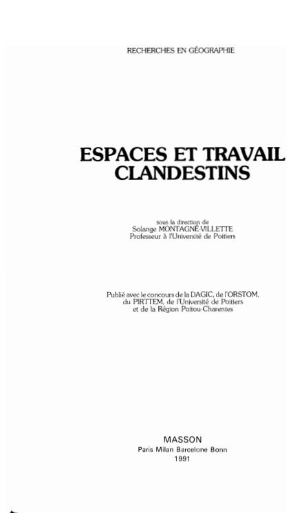ESPACES ET TRAVAIL CLANDESTINS