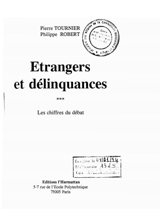 ETRANGERS ET DELINQUANCES