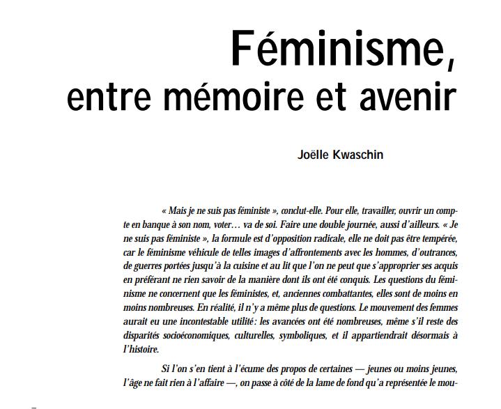 Feminisme entre memoire et avenir