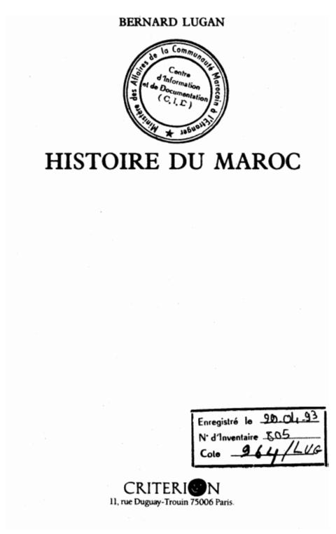 HISTOIRE DU MAROC DES ORIGINES A NOS JOURS
