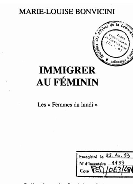IMMIGRER AU FEMININ LES FEMMES DU LUNDI