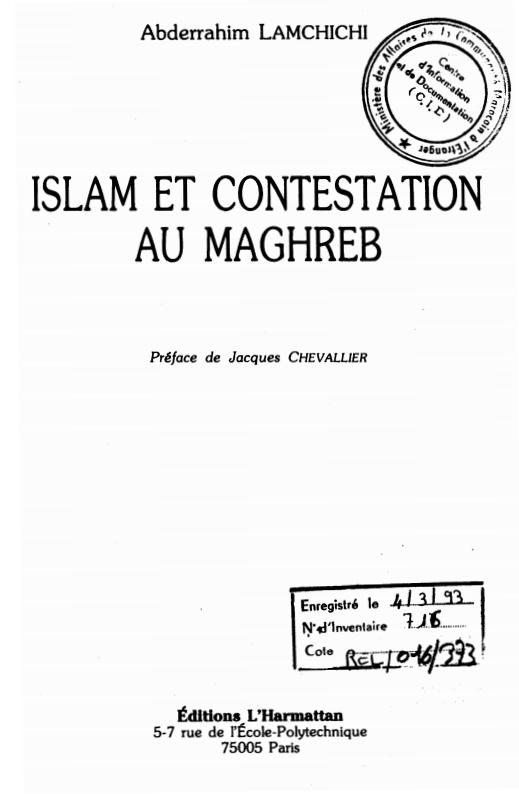 ISLAM ET CONTESTATION AU MAGHREB