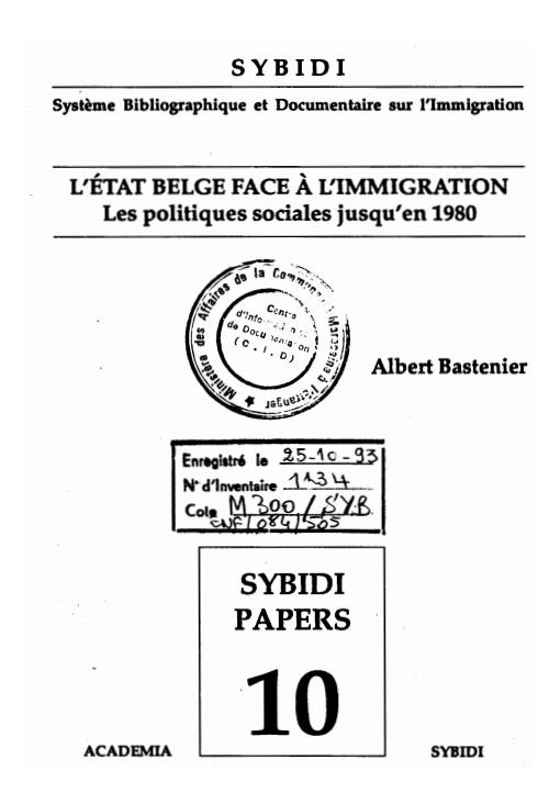L'ETAT BELGE FACE A L'IMMIGRATION