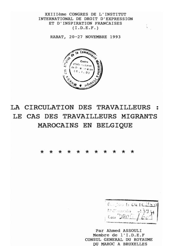 LA CIRCULATION DES TRAVAILLEURS
