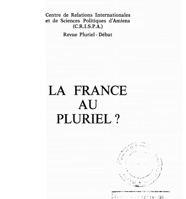 LA FRANCE AU PLURIEL