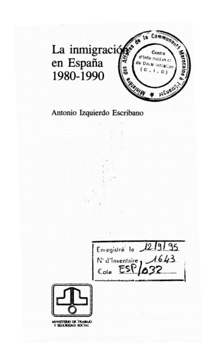 LA IMMIGRACION EN ESPANA 1980 1990