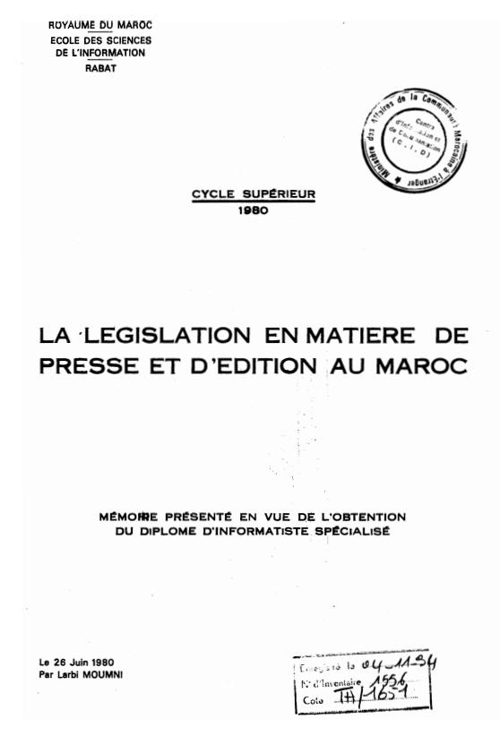 LA LEGISLATION EN MATIERE DE PRESSE ET DEDITION AU MAROC