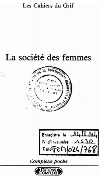 LA SOCIETE DES FEMMES