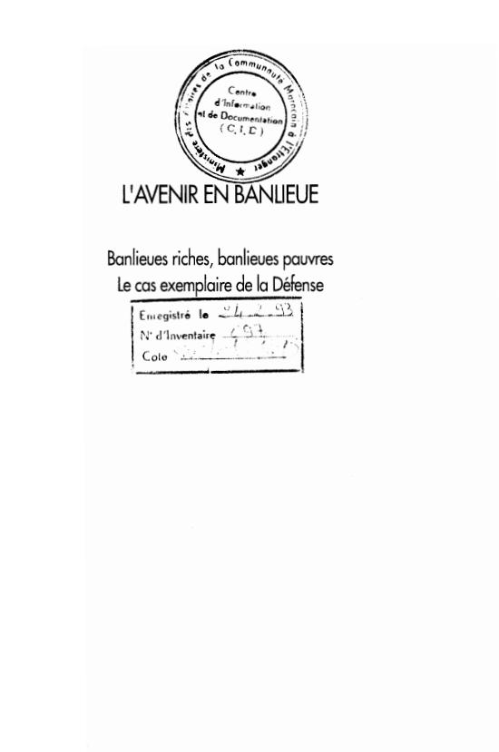 LAVENIR EN BANLIEUE