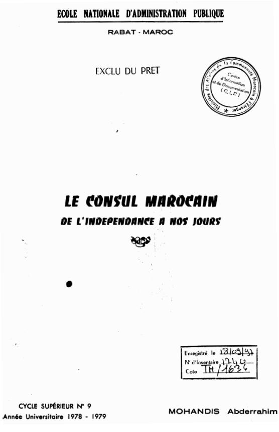 LE CONSUL MAROCAIN