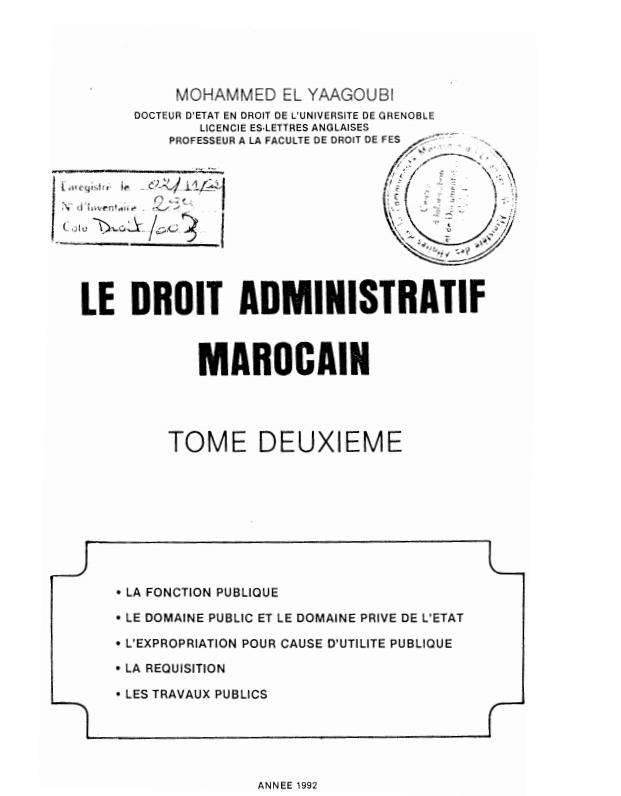 LE DROIT ADMINISTRATIF MAROCAINLE DROIT ADMINISTRATIF MAROCAIN