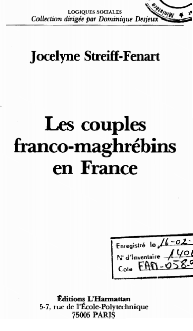 LES COUPLES FRANCO MAGHREBINS EN FRANCE