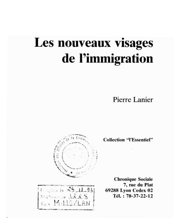 LES NOUVEAUX VISAGES DE LIMMIGRATION