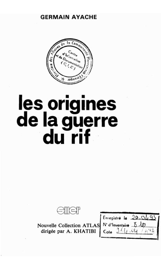 LES ORIGINES DE LA GUERRE DU RIF