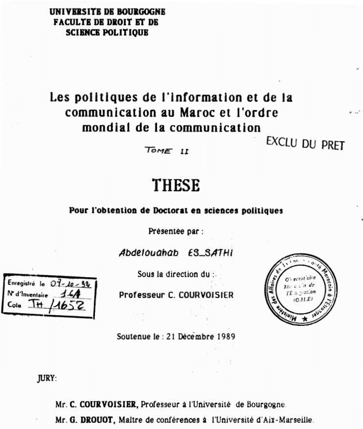 LES POLITIQUES DE L'INFORMATION ET DE LA COMMUNICATION