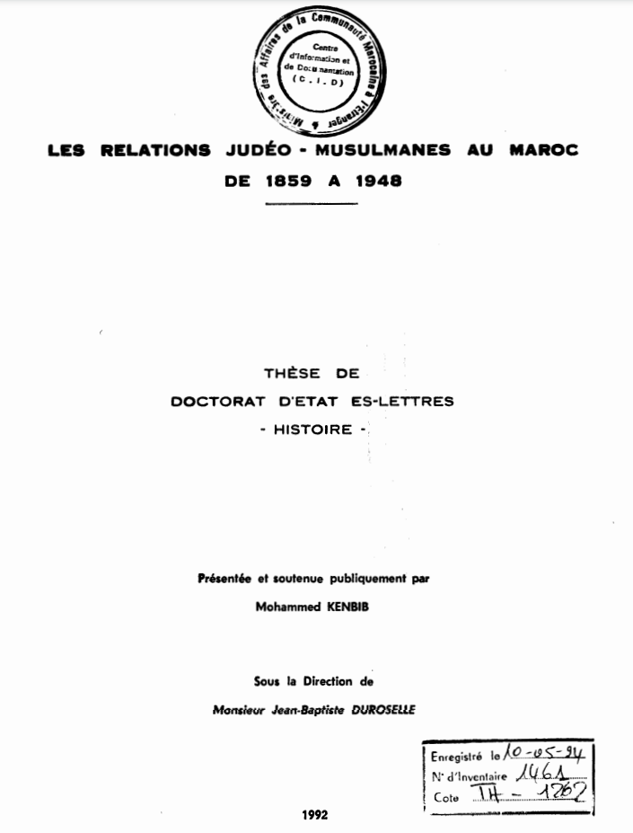 LES RELATIONS JUDEO MUSULMANES AU MAROC DE 1859 A 1948