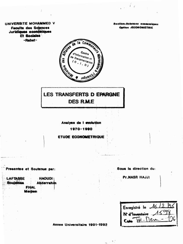 LES TRANSFERTS DEPARGNE DES RME