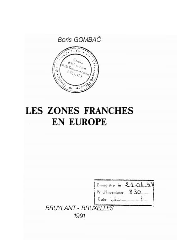 LES ZONES FRANCHES EN EUROPE