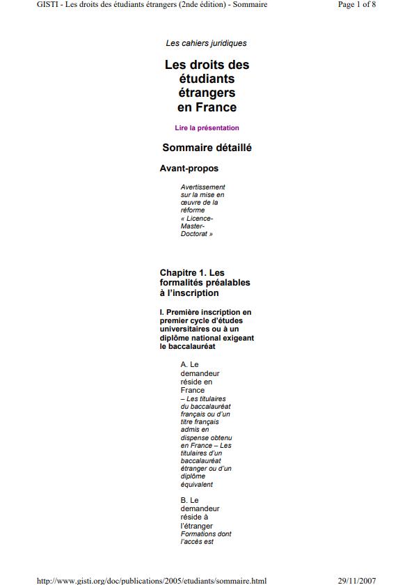 Les Droits des Etudiants Etrangers en France