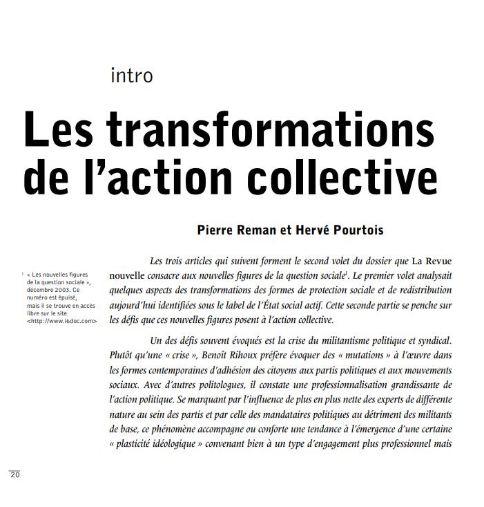Les transformations de l'action collective