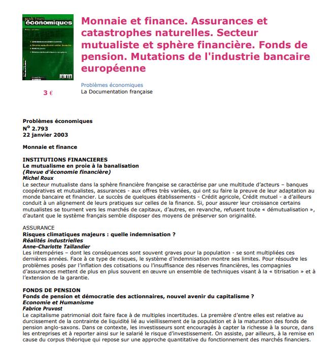 Monnaie et finance Assurances